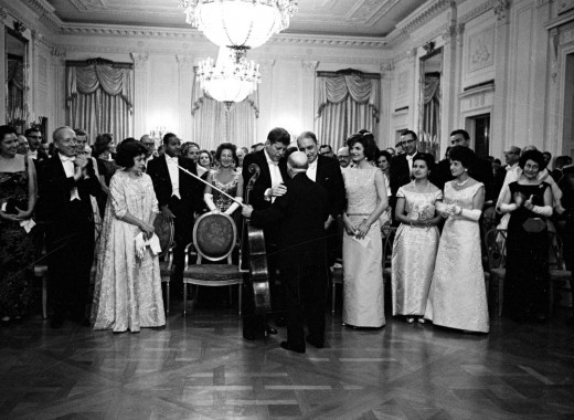 President and Mrs. Kennedy, cellist Pablo Casals at the White House Dinner in honor of Governor Luis Muñoz Marín of Puerto Rico