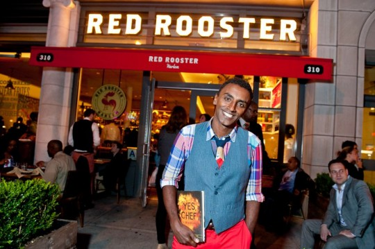 Marcus Samuelsson in front of his Red Rooster Restaurant in Harlem (photo source:  Food Republic)
