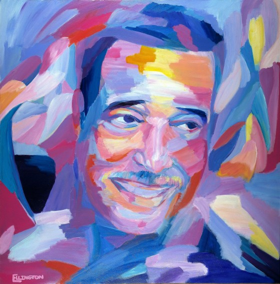 Duke Ellington's granddaughter, Gaye Ellington, made this portrait of her grandfather. She painted it in order to create a memorial that preserved her sense of the creative and loving legacy her grandfather had left her. Courtesy of Smithsonian Jazz