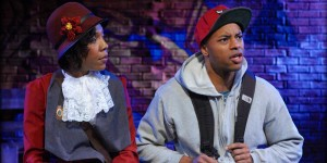 "(L to R) Erica Chamblee as Ida B. Wells and Manu H. Kumasi as Noel in ""The Gospel of Lovingkindness"" at Mosaic Theater"