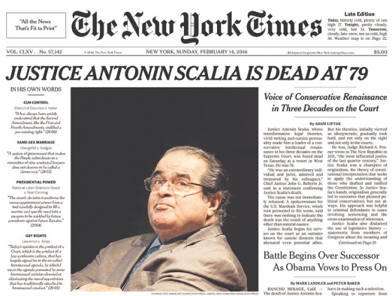 Justice Antonin Scalia died Saturday, February 13, 2016. The cause of death was a heart attack.