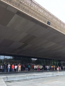 Charter members line up for the open house (preview) of the NMAAHC