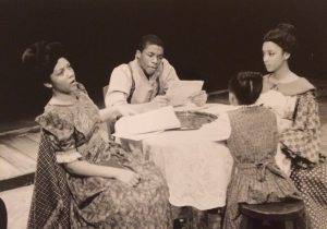 "1999 HU staged reading of ""Iola's Letter"" (L-R) Bakesta King, Chadwick Boseman, Onira Satterwhite, Traci L. Watkins"